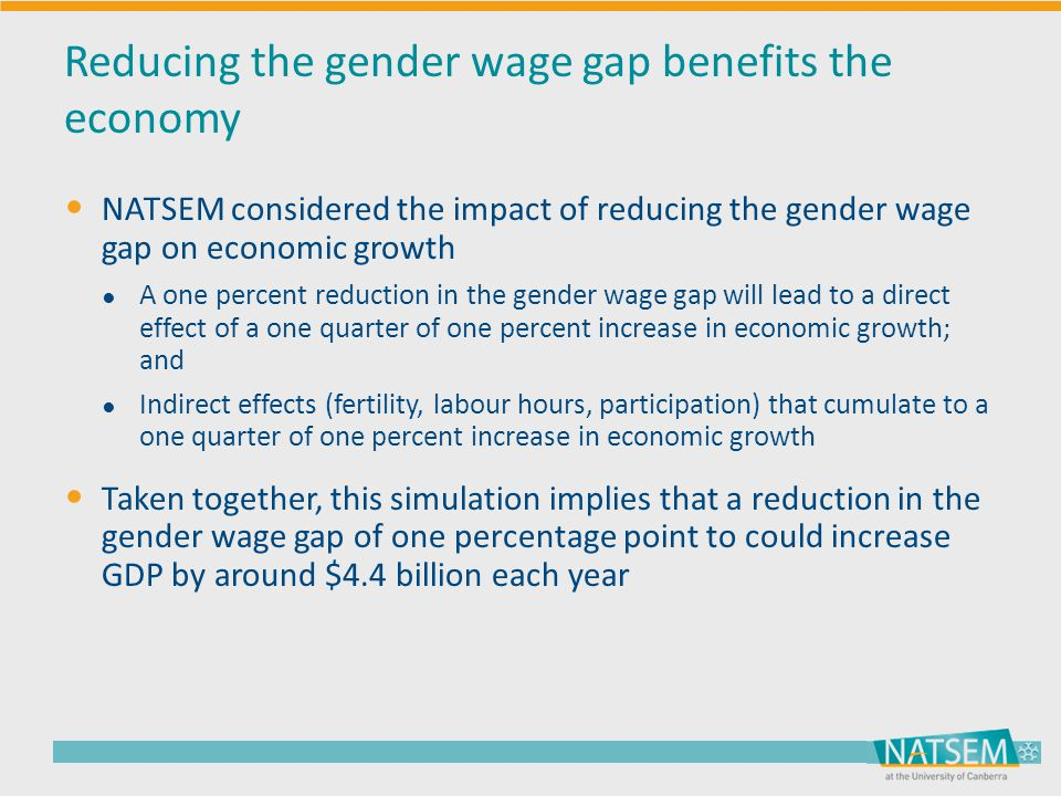 Reducing the gender wage gap benefits the economy NATSEM considered the impact of reducing the gender wage gap on economic growth ● A one percent redu