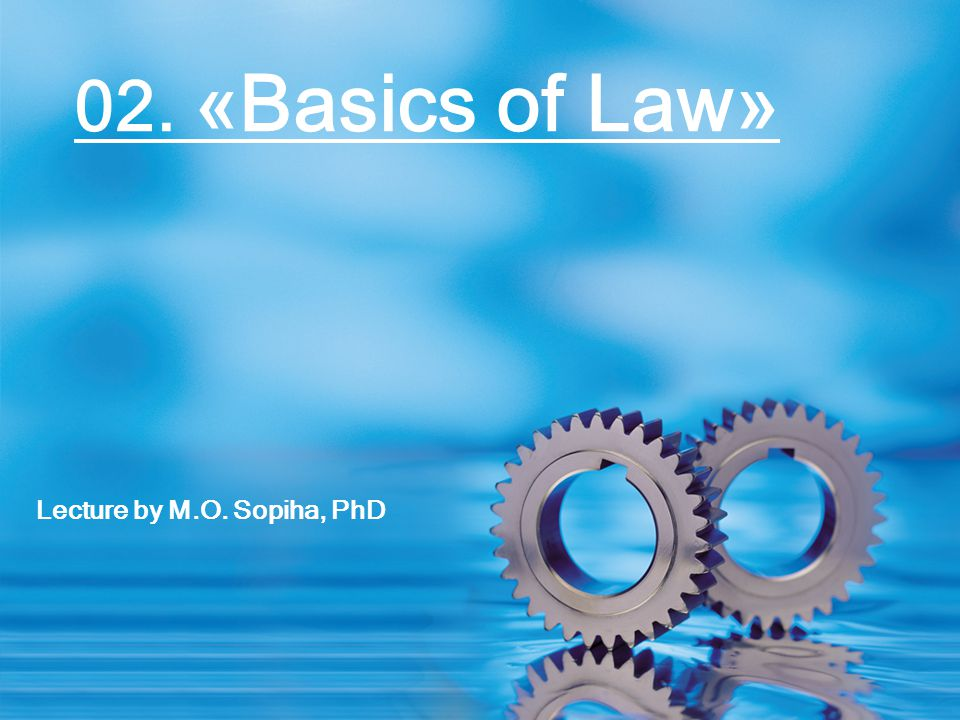 Lecture by M.O. Sopiha, PhD 02. «Basics of Law»