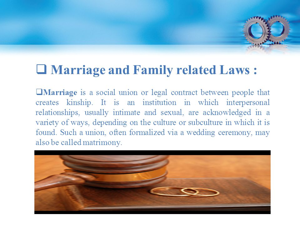  Marriage is a social union or legal contract between people that creates kinship.