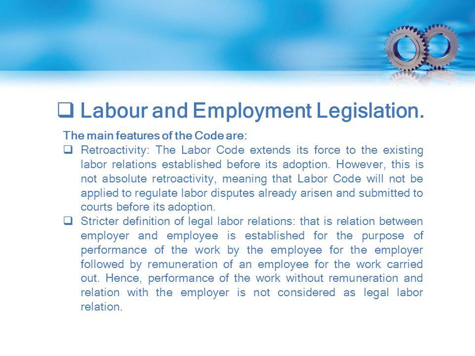  Labour and Employment Legislation.