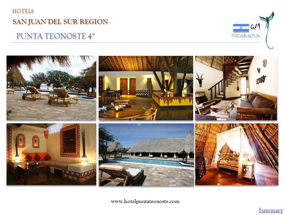 PUNTA TEONOSTE 4* QM NICARAGUA HOTELS SAN JUAN DEL SUR REGION www.hotelpuntateonoste.com Summary