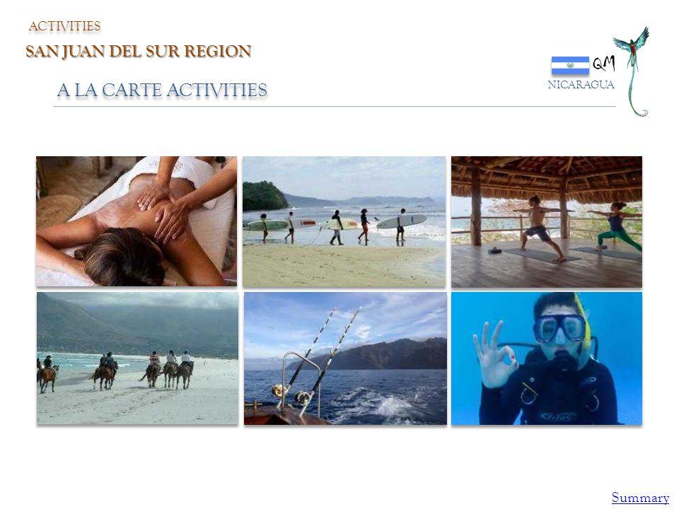 QM NICARAGUA ACTIVITIES SAN JUAN DEL SUR REGION A LA CARTE ACTIVITIES Summary