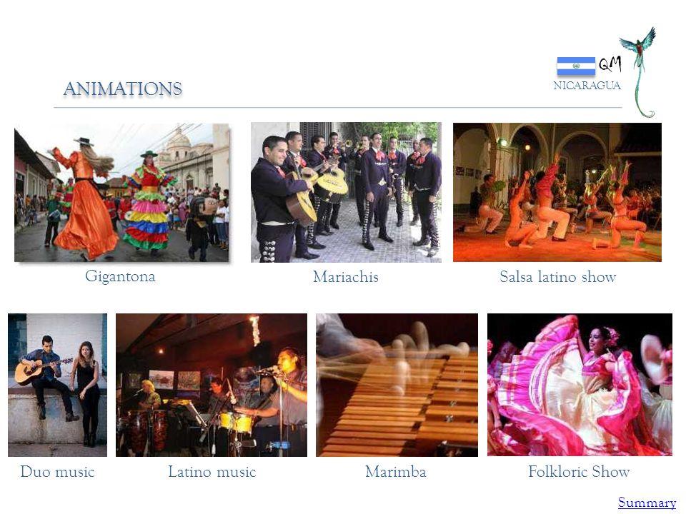 QM NICARAGUA ANIMATIONS Gigantona MariachisSalsa latino show Duo musicLatino musicMarimbaFolkloric Show Summary