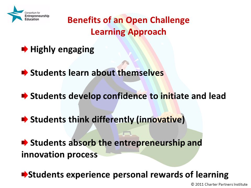 Benefits of an Open Challenge Learning Approach Highly engaging Students learn about themselves Students develop confidence to initiate and lead Students think differently (innovative) Students absorb the entrepreneurship and innovation process Students experience personal rewards of learning © 2011 Charter Partners Institute