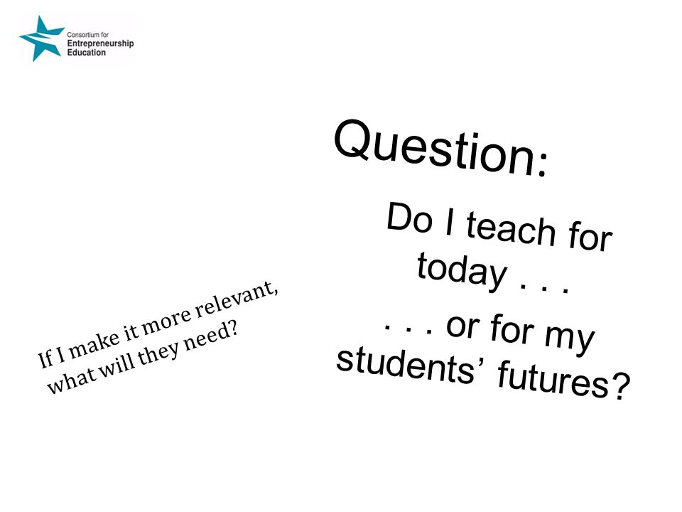 Question : Do I teach for today......or for my students' futures.