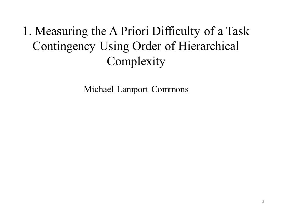 1. Measuring the A Priori Difficulty of a Task Contingency Using Order of Hierarchical Complexity Michael Lamport Commons 3