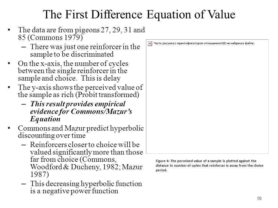 50 The First Difference Equation of Value The data are from pigeons 27, 29, 31 and 85 (Commons 1979) – There was just one reinforcer in the sample to