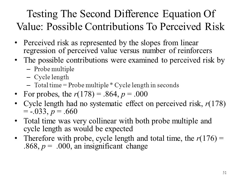 51 Testing The Second Difference Equation Of Value: Possible Contributions To Perceived Risk Perceived risk as represented by the slopes from linear r