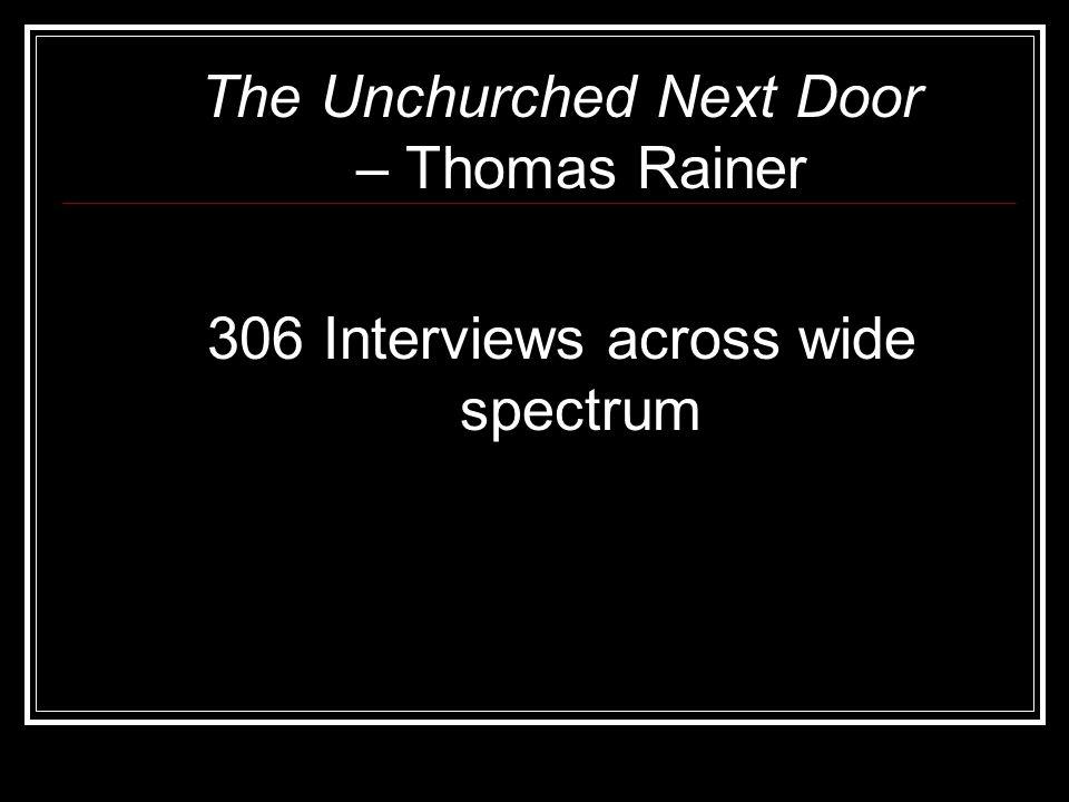 The Unchurched Next Door – Thomas Rainer 306 Interviews across wide spectrum