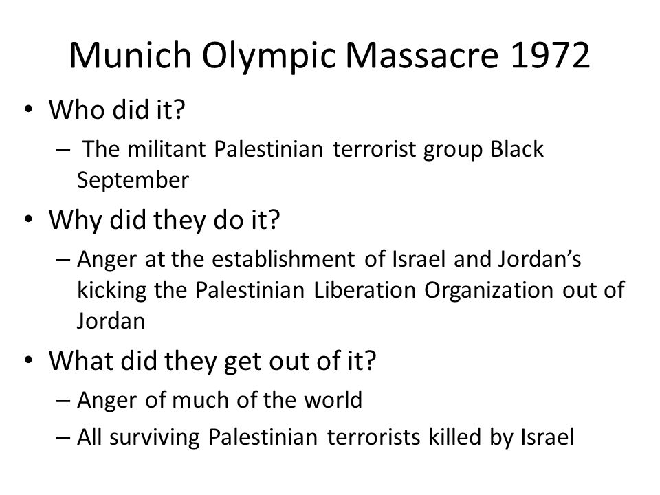Munich Olympic Massacre 1972 Who did it.