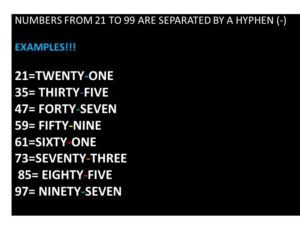 NUMBERS FROM 21 TO 99 ARE SEPARATED BY A HYPHEN (-) EXAMPLES!!.