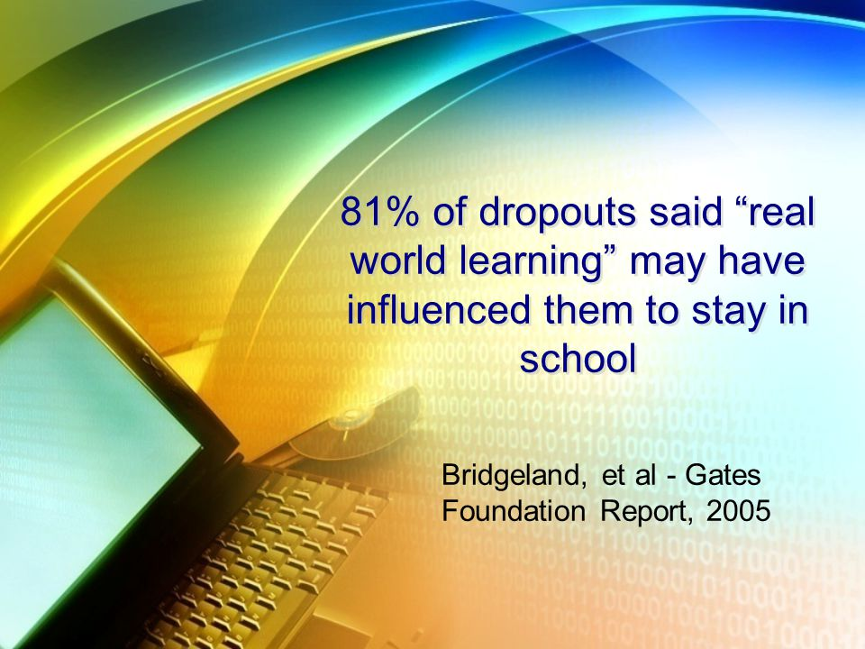81% of dropouts said real world learning may have influenced them to stay in school Bridgeland, et al - Gates Foundation Report, 2005
