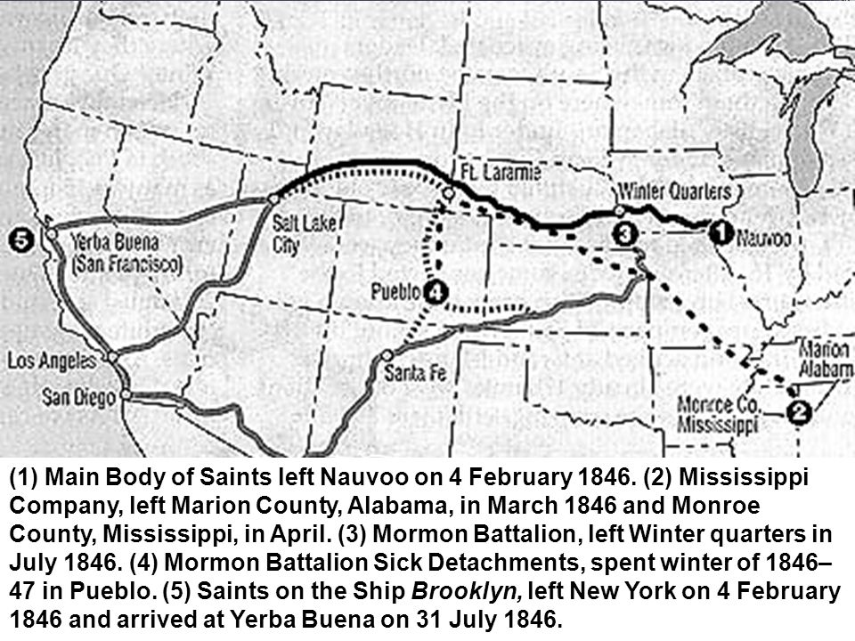 (1) Main Body of Saints left Nauvoo on 4 February 1846.