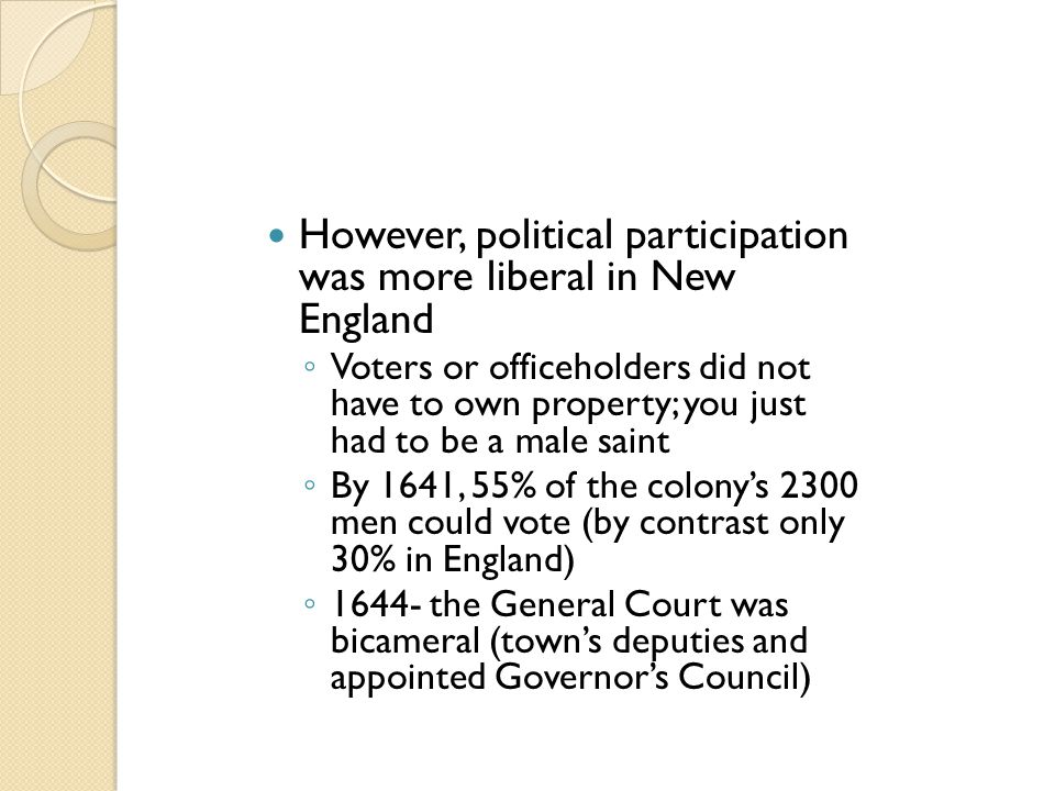 However, political participation was more liberal in New England ◦ Voters or officeholders did not have to own property; you just had to be a male sai