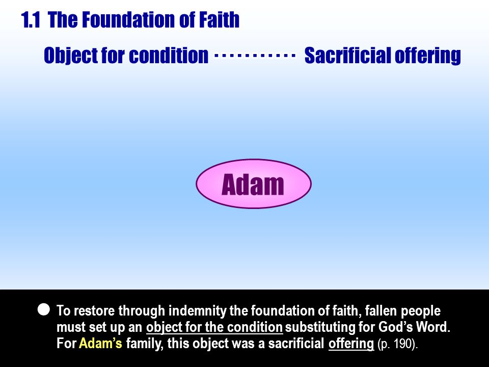 Hence, according to the principle of restoration through indemnity, God could work to take back Abraham and his son Isaac over the course of two generations (p.