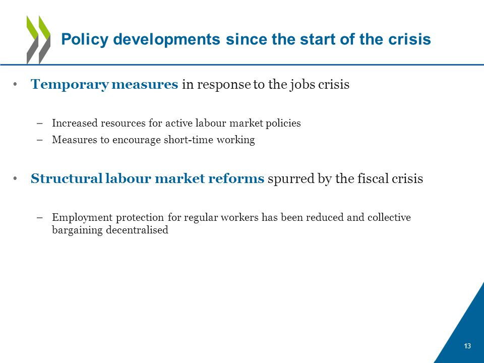 Temporary measures in response to the jobs crisis – Increased resources for active labour market policies – Measures to encourage short-time working Structural labour market reforms spurred by the fiscal crisis – Employment protection for regular workers has been reduced and collective bargaining decentralised 13 Policy developments since the start of the crisis