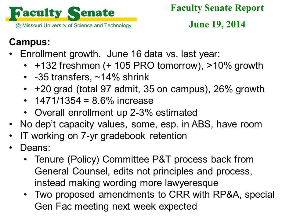 Campus: Enrollment growth. June 16 data vs.