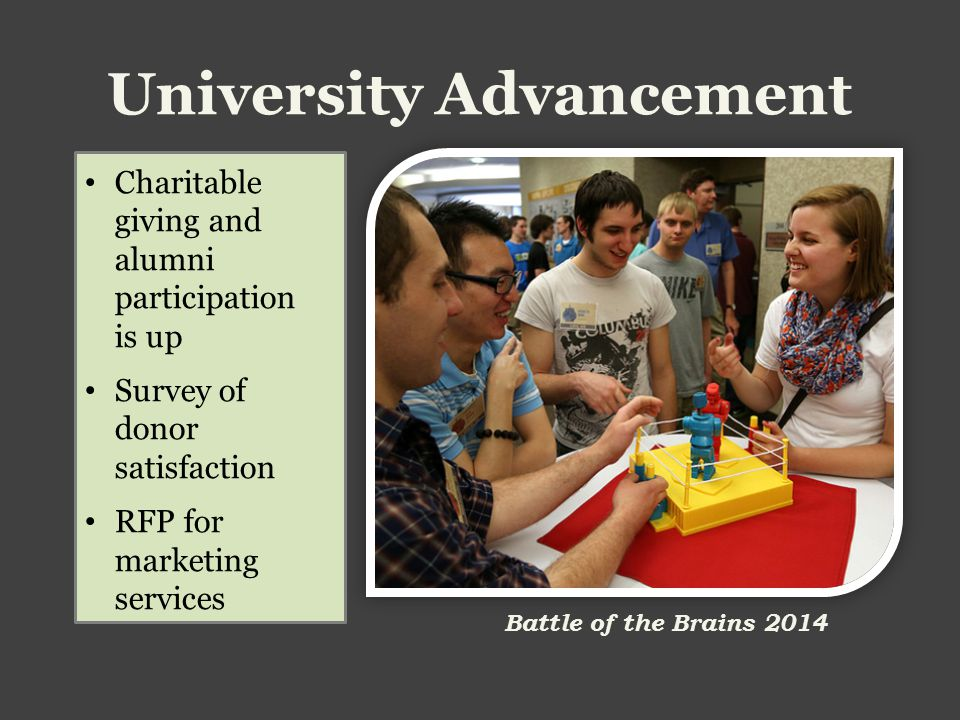 University Advancement Charitable giving and alumni participation is up Survey of donor satisfaction RFP for marketing services Battle of the Brains 2014