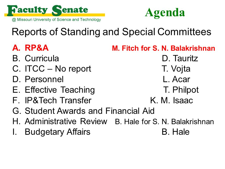 Agenda Reports of Standing and Special Committees A.RP&A M.