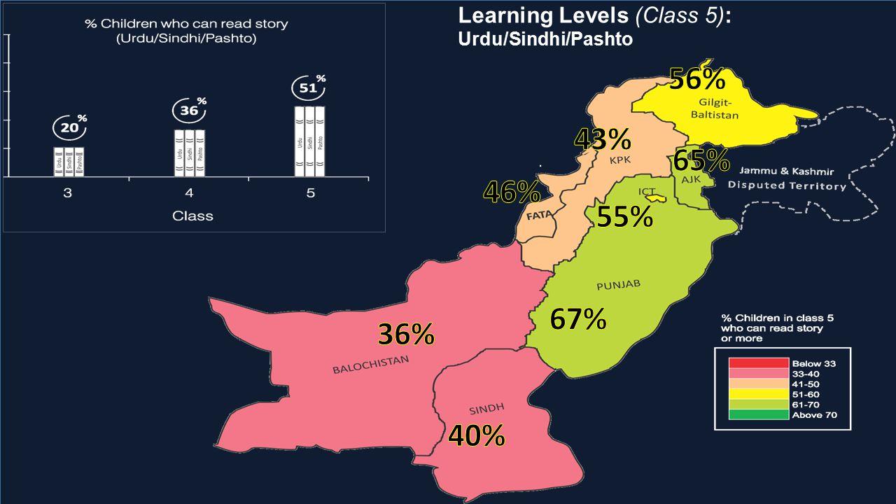 Learning Levels (Class 5): Urdu/Sindhi/Pashto