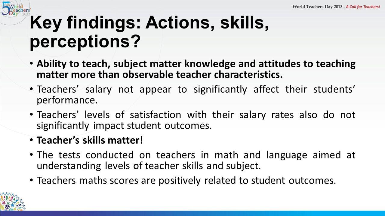 Key findings: Actions, skills, perceptions.