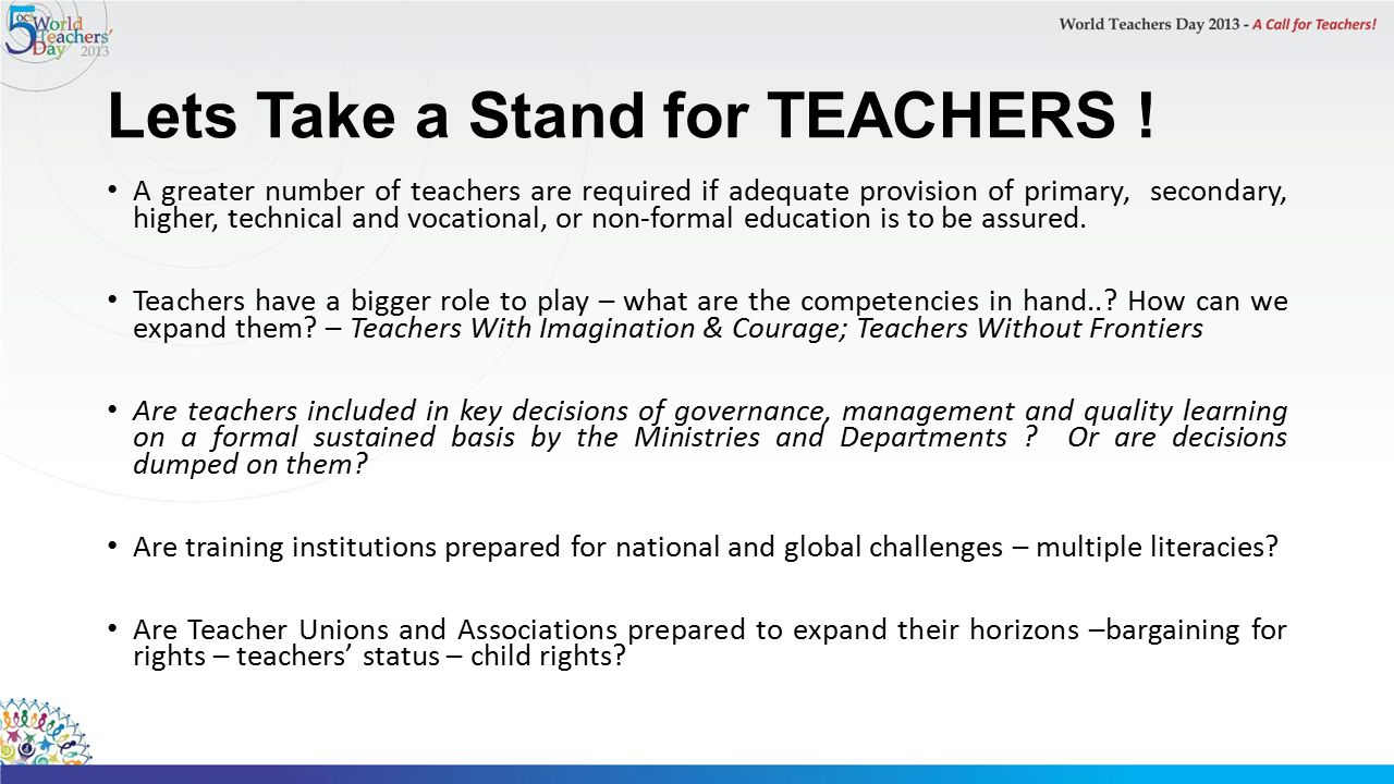 Lets Take a Stand for TEACHERS .