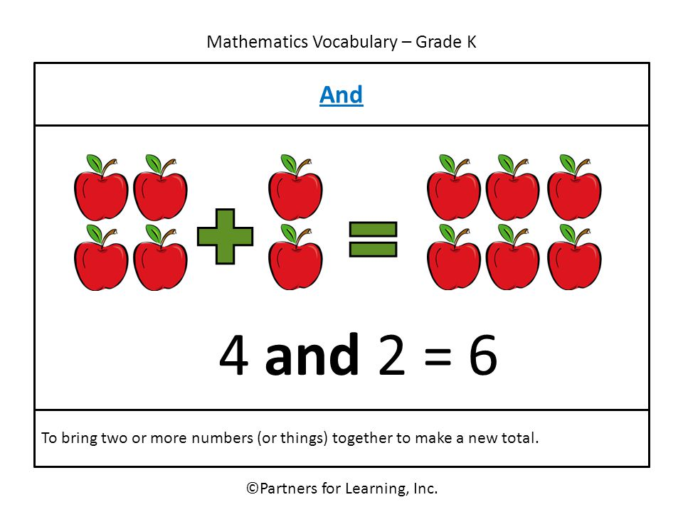 Mathematics Vocabulary – Grade K And ©Partners for Learning, Inc. To bring two or more numbers (or things) together to make a new total. 4 and 2 = 6