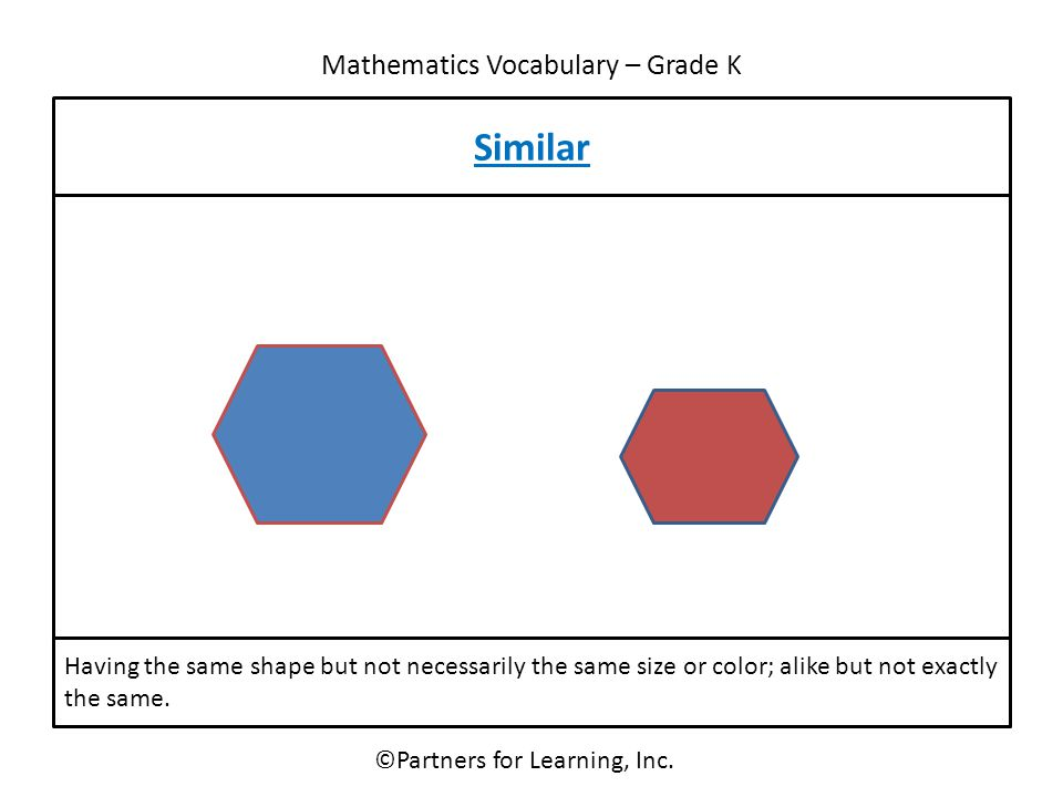 Mathematics Vocabulary – Grade K ©Partners for Learning, Inc. Similar Having the same shape but not necessarily the same size or color; alike but not