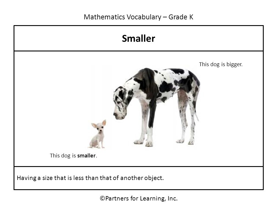 Mathematics Vocabulary – Grade K Smaller ©Partners for Learning, Inc. Having a size that is less than that of another object. This dog is smaller. Thi