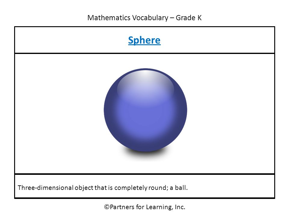Mathematics Vocabulary – Grade K Sphere ©Partners for Learning, Inc. Three-dimensional object that is completely round; a ball.