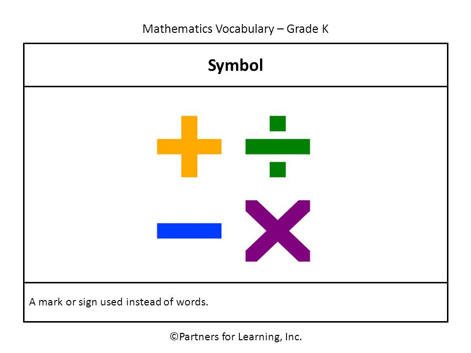 Mathematics Vocabulary – Grade K Symbol ©Partners for Learning, Inc. A mark or sign used instead of words.