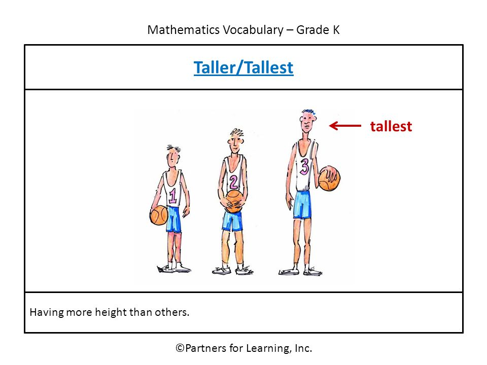 Mathematics Vocabulary – Grade K Taller/Tallest ©Partners for Learning, Inc. Having more height than others. tallest