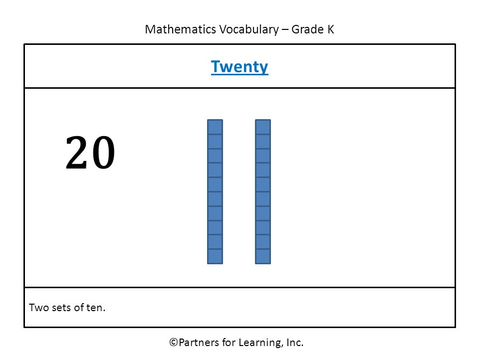 Mathematics Vocabulary – Grade K ©Partners for Learning, Inc. Twenty Two sets of ten. 20