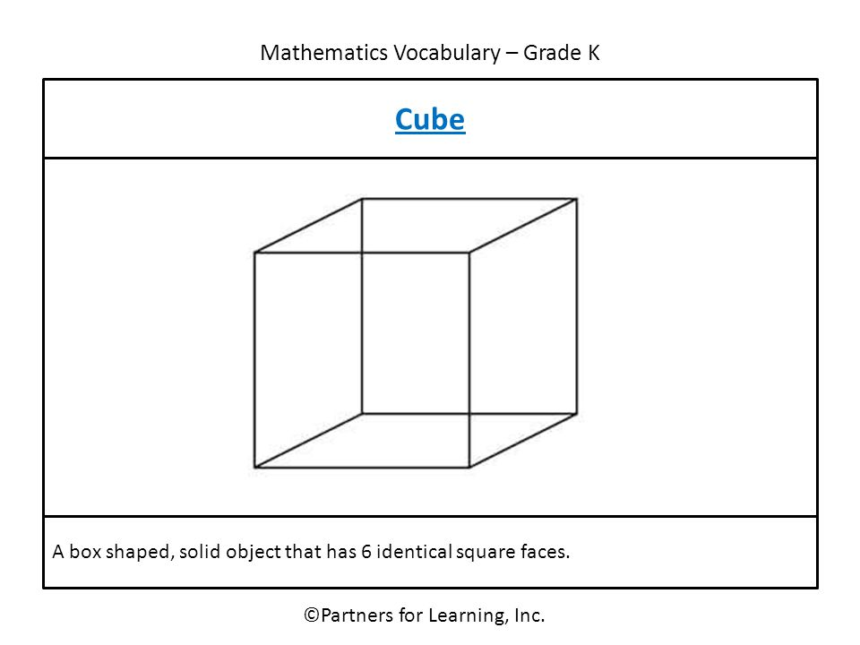 Mathematics Vocabulary – Grade K ©Partners for Learning, Inc. Cube A box shaped, solid object that has 6 identical square faces.