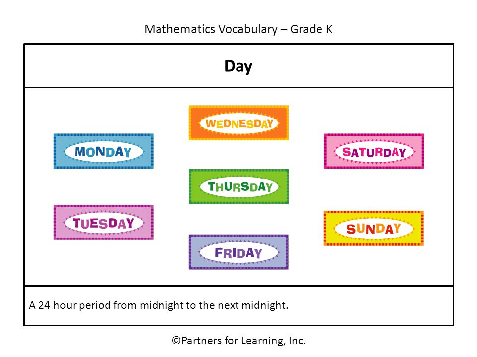 Mathematics Vocabulary – Grade K ©Partners for Learning, Inc. Day A 24 hour period from midnight to the next midnight.
