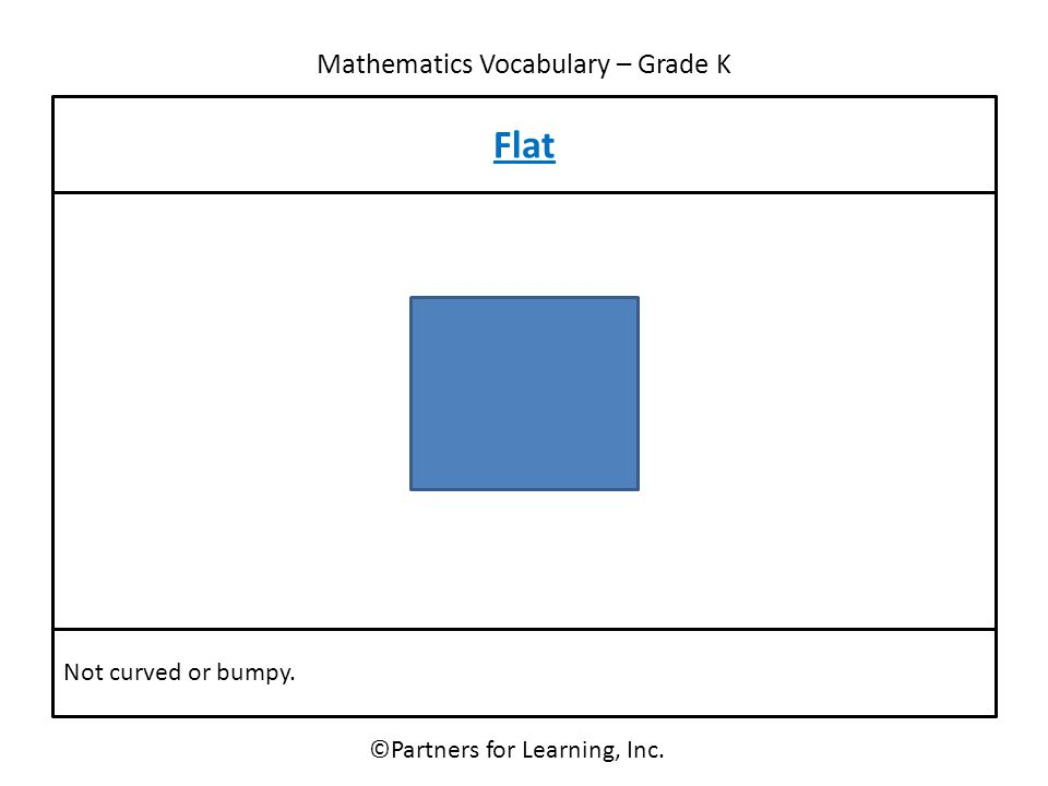 Mathematics Vocabulary – Grade K ©Partners for Learning, Inc. Flat Not curved or bumpy.