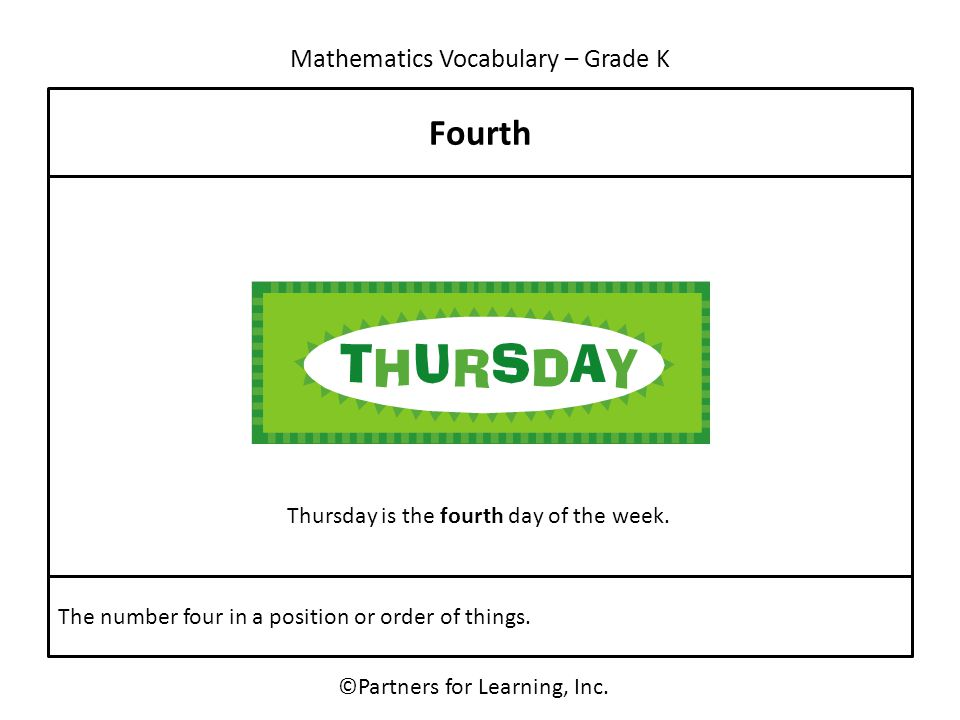 Mathematics Vocabulary – Grade K ©Partners for Learning, Inc. Fourth The number four in a position or order of things. Thursday is the fourth day of t