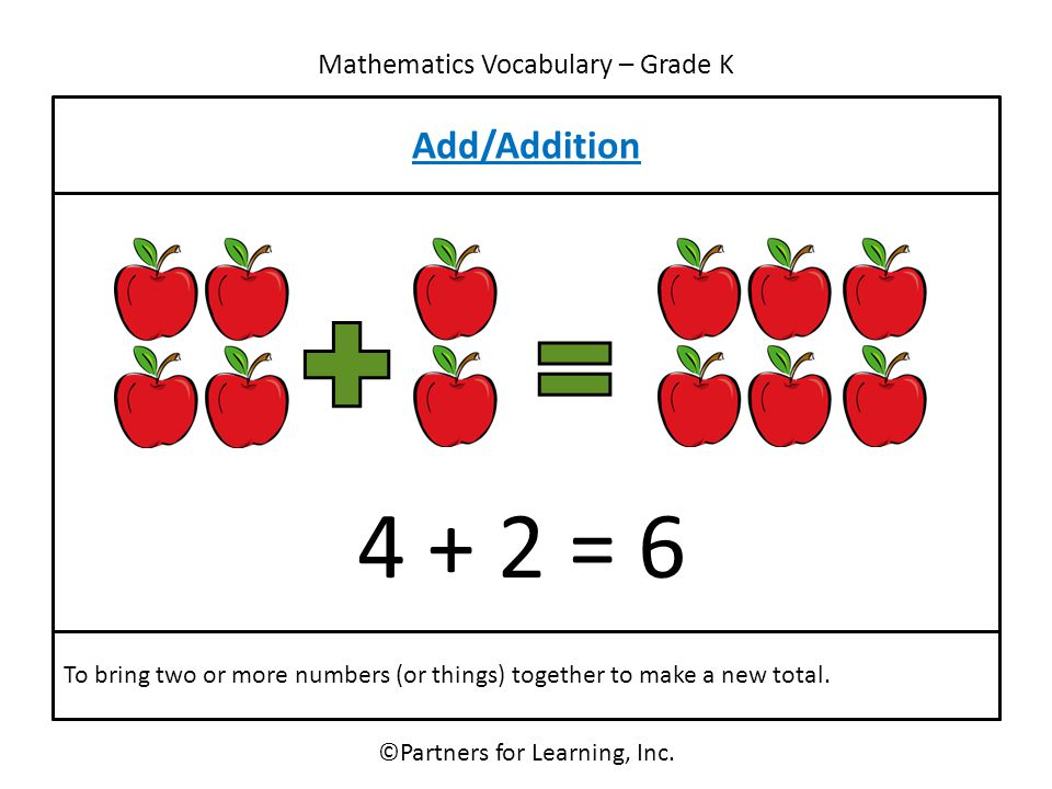 Mathematics Vocabulary – Grade K Add/Addition ©Partners for Learning, Inc. To bring two or more numbers (or things) together to make a new total. 4 +