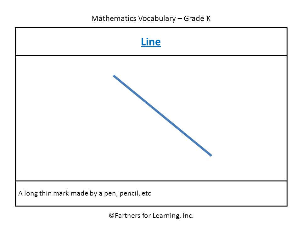 Mathematics Vocabulary – Grade K Line ©Partners for Learning, Inc. A long thin mark made by a pen, pencil, etc