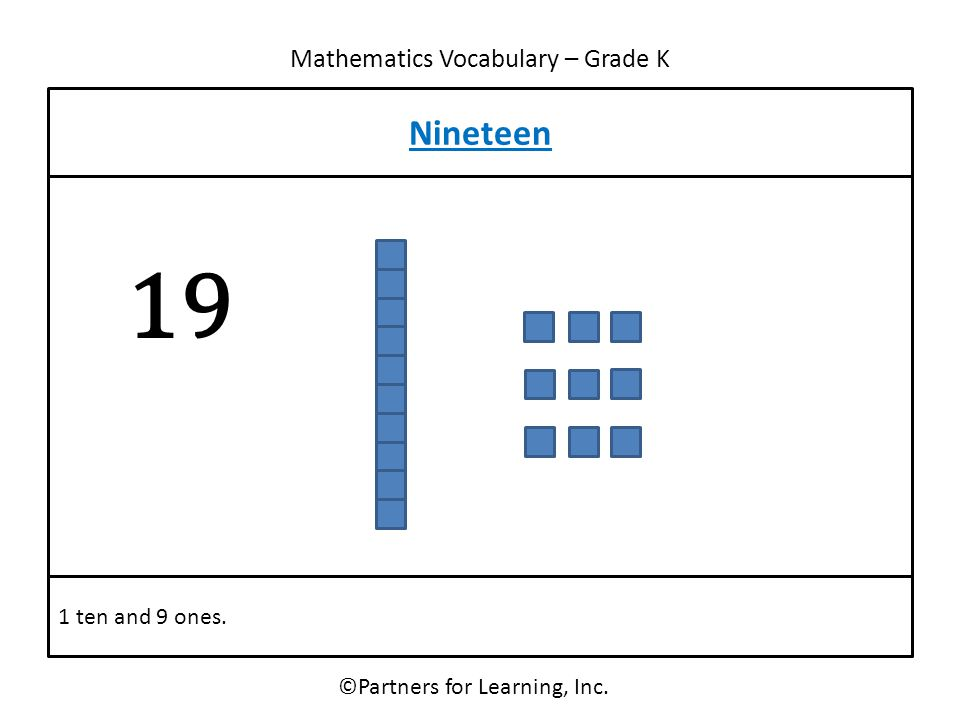 Mathematics Vocabulary – Grade K ©Partners for Learning, Inc. Nineteen 1 ten and 9 ones. 19