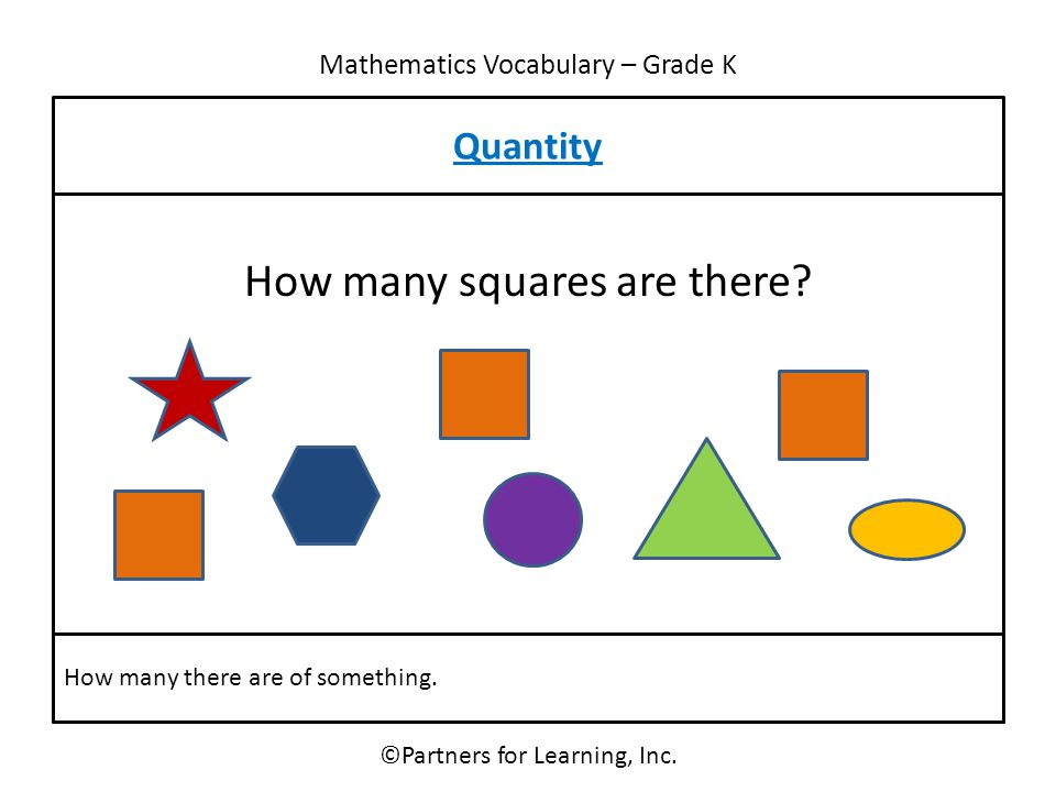 Mathematics Vocabulary – Grade K Quantity ©Partners for Learning, Inc. How many there are of something. How many squares are there?