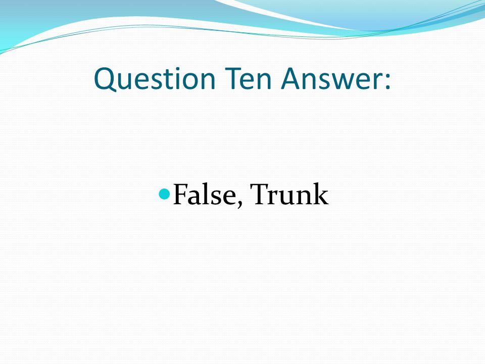 Question Ten Answer: False, Trunk
