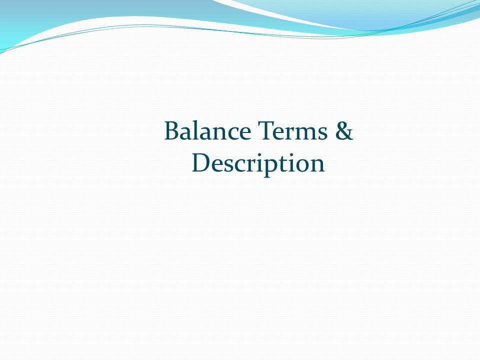 Balance Terms & Description
