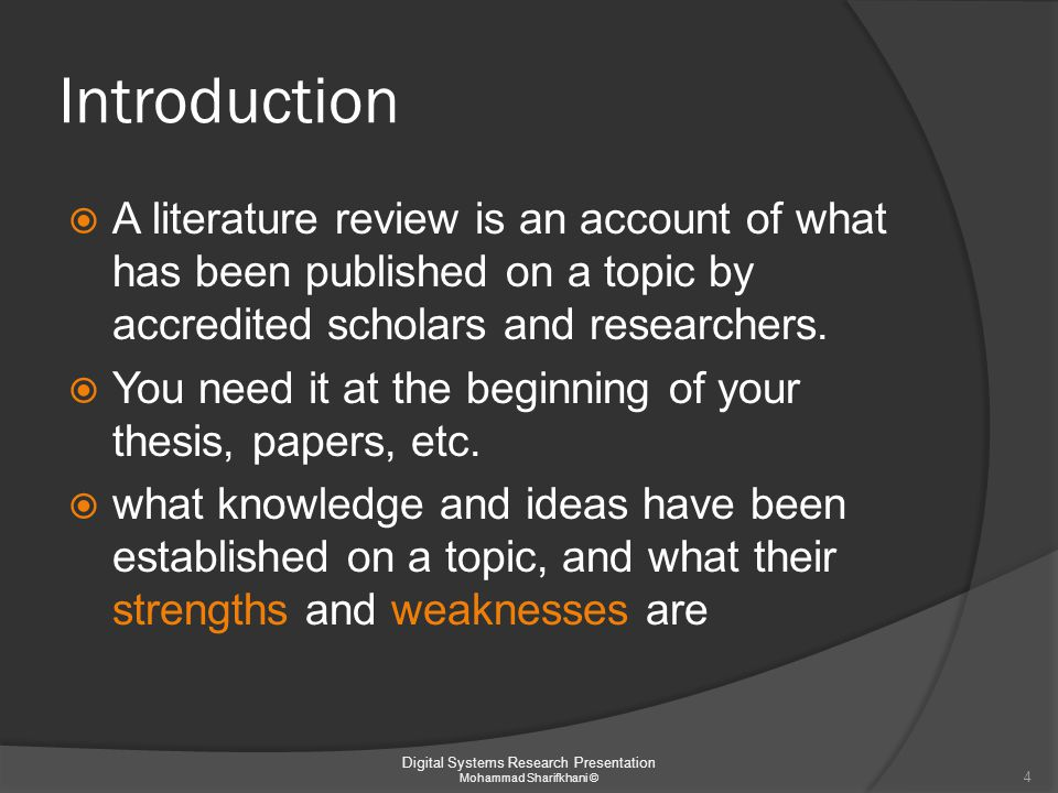 Outline  Introduction  Resources  Resource management  Research orientation  Referencing sources guidelins 5 Digital Systems Research Presentation Mohammad Sharifkhani ©