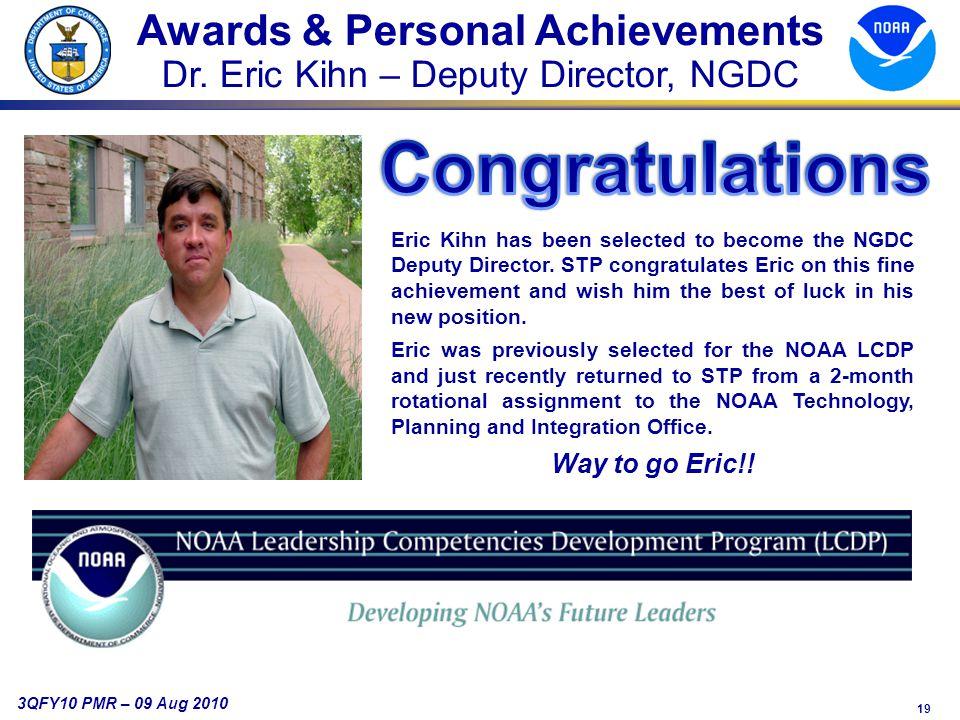 19 3QFY10 PMR – 09 Aug 2010 Awards & Personal Achievements Dr.