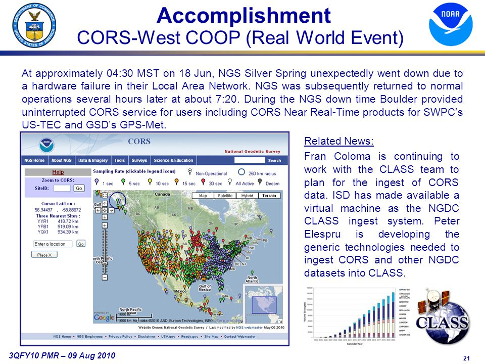 21 3QFY10 PMR – 09 Aug 2010 Accomplishment CORS-West COOP (Real World Event) At approximately 04:30 MST on 18 Jun, NGS Silver Spring unexpectedly went down due to a hardware failure in their Local Area Network.