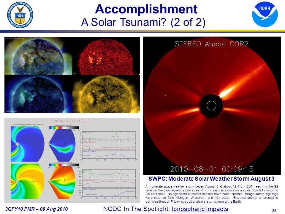26 3QFY10 PMR – 09 Aug 2010 Accomplishment A Solar Tsunami.