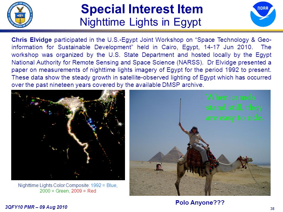 38 3QFY10 PMR – 09 Aug 2010 Special Interest Item Nighttime Lights in Egypt Polo Anyone .