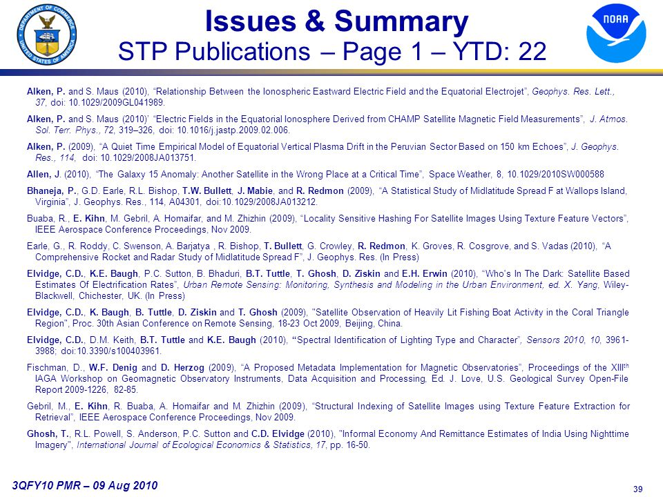 39 3QFY10 PMR – 09 Aug 2010 Issues & Summary STP Publications – Page 1 – YTD: 22 Alken, P.
