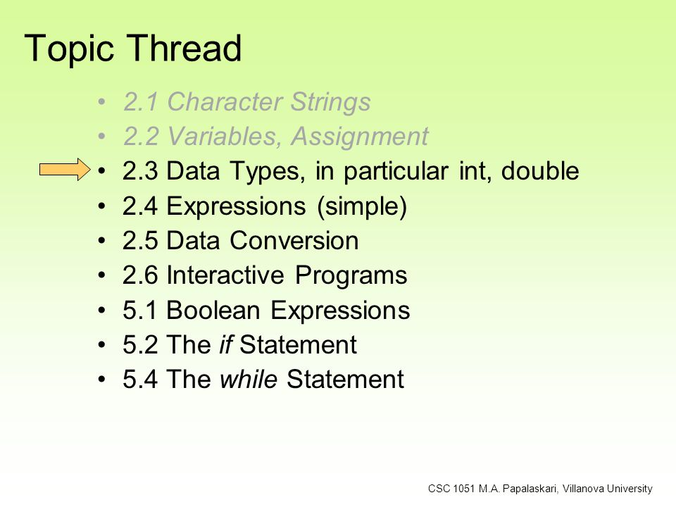 Topic Thread 2.1 Character Strings 2.2 Variables, Assignment 2.3 Data Types, in particular int, double 2.4 Expressions (simple) 2.5 Data Conversion 2.